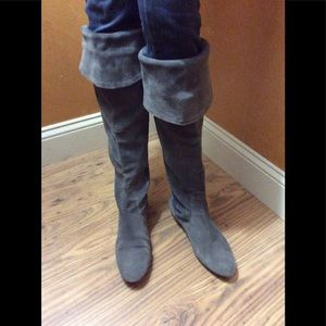 "Knee high White Mountain ""titan"" grey suede"